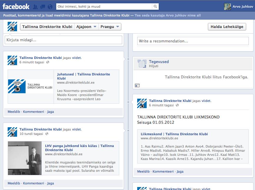 Avasime oma infolehe Facebookis